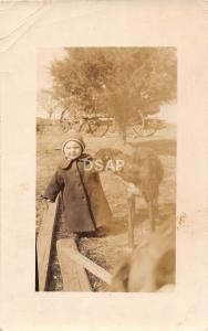 C17/ People Real Photo RPPC Postcard c1910 Child with Pet Dog Wagon 24