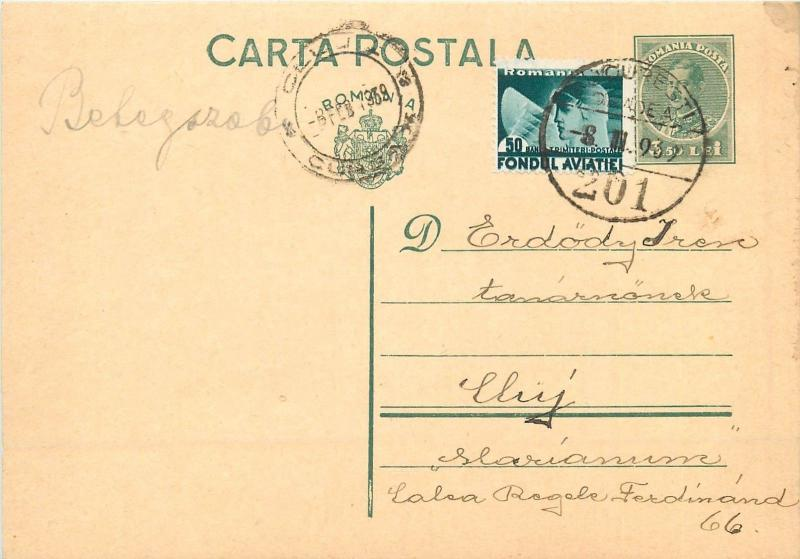 Bucuresti via Cluj 1939 Romania correspondence Carol II royalty stationery card