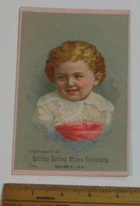 Victorian TRADE CARD Quincy Baling Press Farm Machinery Agricultural Hay Baler
