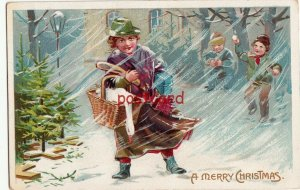 1930 A MERRY CHRISTMAS lady in snow with goose & bread, Tuck, embossed