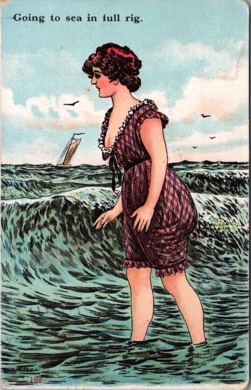 'Going To Sea in Full Rig' Woman Water Ocean Boating c1907 Antique Postcard D40
