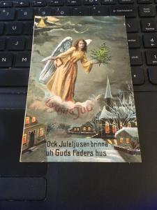 Vintage Postcard, Lycklig Jul, Christmas  Angel - Swedish