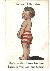 Comic boy. This poor littñle fellow... Humorousvintage English postcard