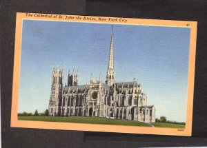 NY Cathedral Church St John the Divine New York City NYC Postcard Linen