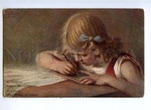 170062 Girl writting Letter by LUBBES vintage Russian color PC