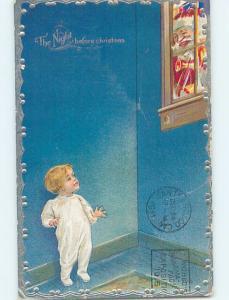 Pre-Linen christmas BOY SEES SANTA CLAUS THROUGH THE WINDOW hk9289