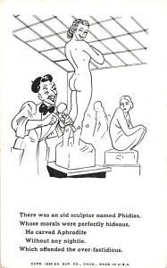 Old Sculptor Comic Postcard Unused
