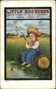Little Breeches Series Boy in Overalls Fishing c1910 Postcard