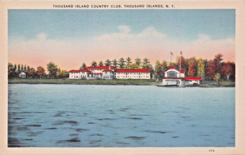 THOUSAND ISLANDS NEW YORK~COUNTRY CLUB-WATERFRONT & BOAT HOUSE POSTCARD