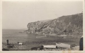 Father & Child With Boats Little Haven Tenby RPC Postcard