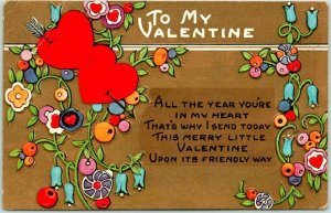 Whitney VALENTINE'S DAY Greetings Postcard All the Year You're in My Heart…