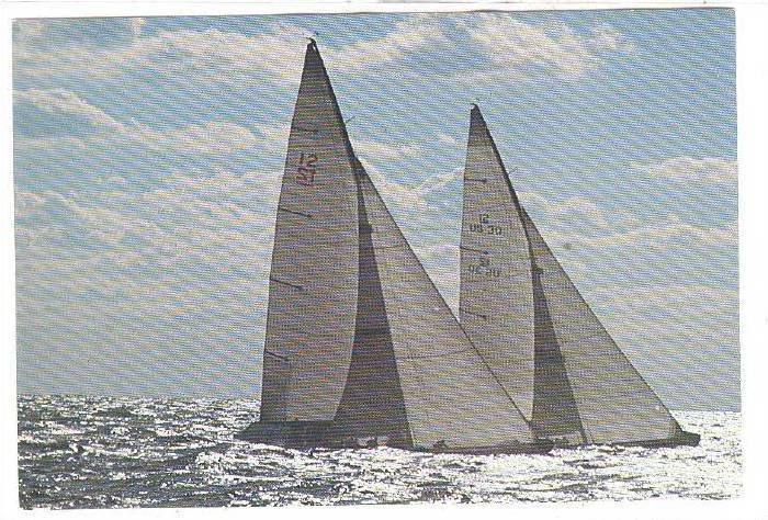 Sailing Vessels, Enterprise and Freedom cruising on open water, 50-70s