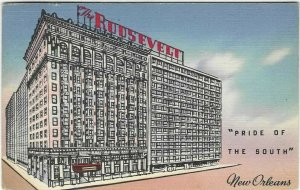 1957 postcard,The Roosevelt Hotel, New Orleans, to The Price Is Right show