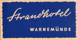 Germany Warnemuende Strandthotel Vintage Luggage Label sk4754