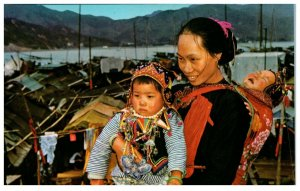 Traditional Dress of Boat Woman And Children Hong Kong Postcard PC1043