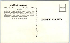 Mesa, Arizona Postcard MATTA'S MEXICAN FOOD Artist-Signed Street View c1960s