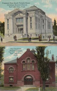 SALT LAKE CITY, Utah, PU-1913; Christian Science Church, 2-views