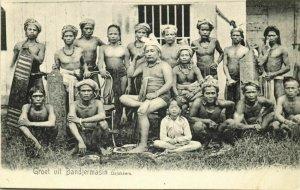 indonesia, BORNEO BANDJERMASIN, Dajak Dayak Chief with Warriors, Shields (1899)