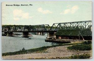 Brewer Maine~Penobscot River Bridge~Railroad Bridge Behind~replaced 1997~1917 PC