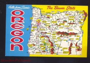 STATE OF OREGON MAP VINTAGE POSTCARD