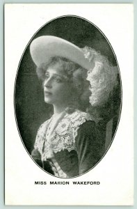 Miss Marion Wakeford~British Stage Actress~Shakespeare~Oval Portrait~Feather Hat