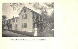 Bedford MA Twin Elms Postcard