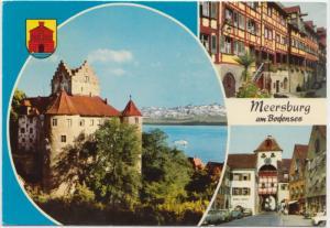 Meersburg am Bodensee, Germany, multi view, 1974 used Postcard