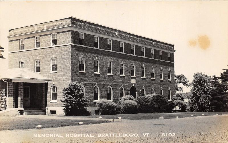 Brattleboro Vermont~Memorial Hospital~Some Windows Open~Vintage RPPC
