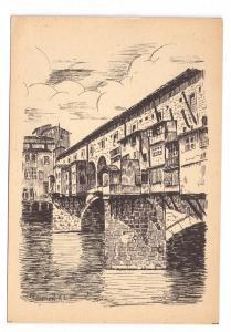 Italy Florence Ponte Vecchio Old Bridge Firenze 4X6 Postcard