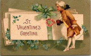 VTG Postcard St Valentine's Greeting 1909 Elkader Iowa Embossed Germany    1127