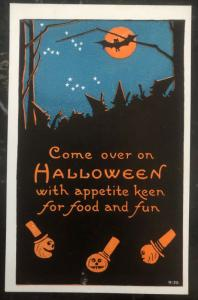 Mint Vintage USA Picture Postcard PPC Come Over On Halloween