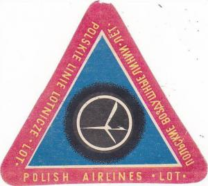 LOT POLISH AIRLINES VINTAGE AVIATION LABEL