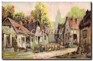 Old Postcard Fantasy Landscape Sheep Breeding
