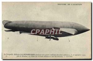 Old Postcard Jet Aviation Zeppelin Airship The Republic shipwreck with four b...