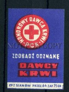 500794 POLAND REd Cross Vintage match label