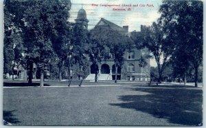 Evanston Illinois Postcard First Congregational Church & City Park 1908 Cancel