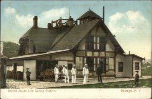 Oswego NY Life Saving Station c1905 Postcard