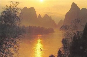 China The Rising Sun on Lijiang River Landscape