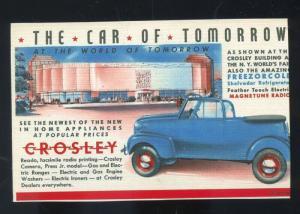 THE CAR OF TOMORROW CROSLEY CAR DEALER ADVERTISING POSTCARD FREEZERCOLD