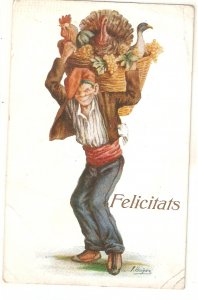 ·J. IBAÑEZ..Caricature. Catalan character. Pagés  Vintage Spanish postcard
