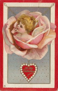 To My VALENTINE, 1901-07; Rose with child head in middle on a chain, TUCK No. 20