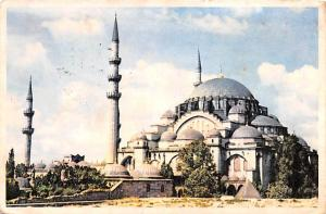 Turkey Old Vintage Antique Post Card Suleymaniye Mosque Istanbul 1959