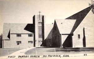 McPherson Kansas First Baptist Church Street View Antique Postcard K101114