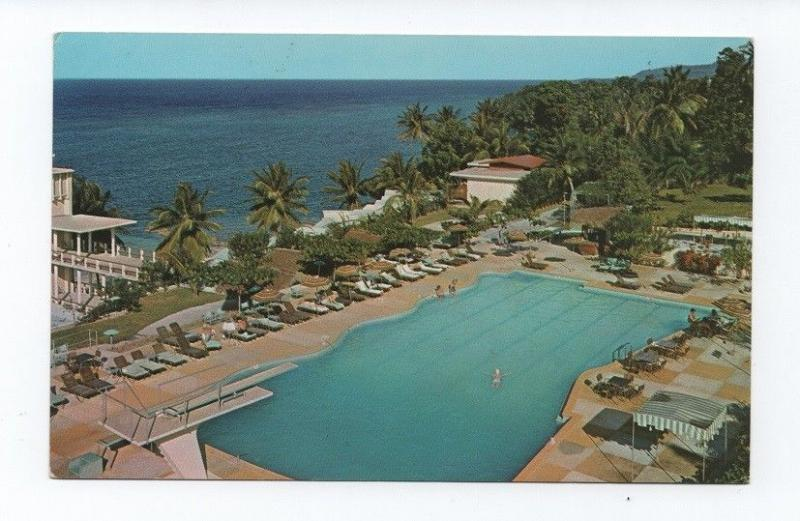 Postcard JAMAICA OCHO RIOS hotel hotels 1972 STAMP AIRPLANE  WOMAN HOSTESS XX