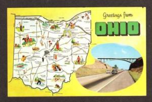 OH Greetings from OHIO State Map Postcard
