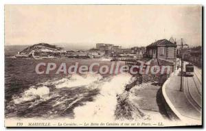 Postcard Old Marseille La Corniche Les Bains Catalans and view of the Pharo