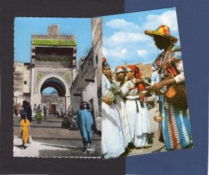 Two Scenic Picturesque Morocco Postcards Water Carrier, Andaloj Mosque In Fez