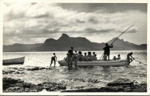 mauritius, Group of Young Children in Bathing Suits in Boat Caprice (1956) RPPC