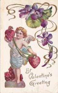 Valentine's Day Cupid Hearts and Purple Flowers 1908