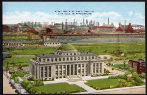 Indiana GARY Steel Mills Plants with City Hall in Foreground - LINEN